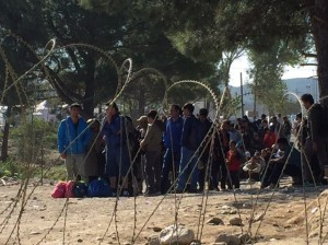 Refugees waiting to cross the Macedonian border